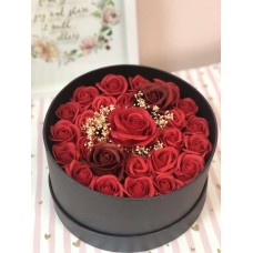 Red Soap Roses in round gift box