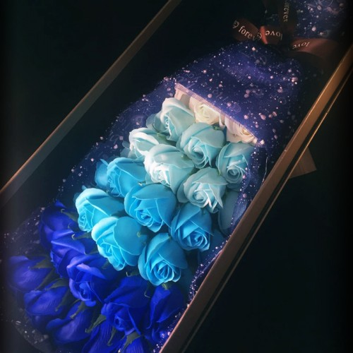 33 Soap Roses Blue Bouquet With Long Gift Box