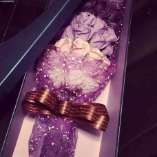 33 Soap Roses Purple Gradient Bouquet with Long Gift Box