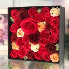 Red Soap Flower Arrangement Square Gift Box