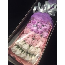 33 Soap Roses Purple Pink with Gift Box