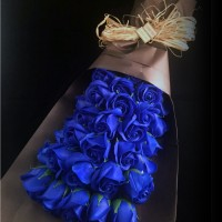 33 Soap rose royal blue flower bouquet with long gift box