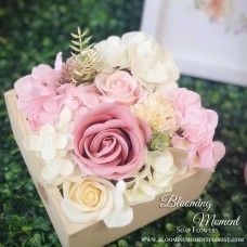 Light Pink Soap Flower Wooden Square Box