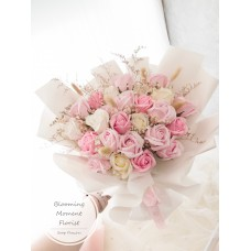 Natural Light Pink Soap Flower bouquet with Dried Flowers
