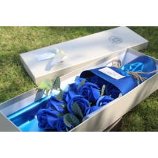 Royal blue soap flower 11 roses long gift box small